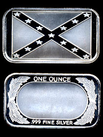 ST-100 Confederate Battle Flag Silver Artbar