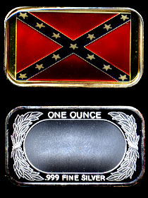 ST-100EN Confederate Battle Flag Enameled Silver Artbar