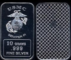 USMC Semper Fi 10 Grams Silver Artbar
