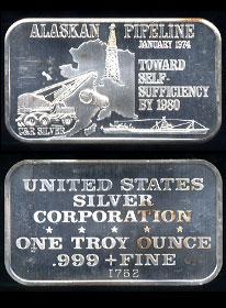 USSC-164 (1974) Alaskan Pipeline silver artbar