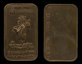 "ZM-10 Bronze (1975) Success Bar ""I made mine in stocks & bonds"" Silver Artbar"