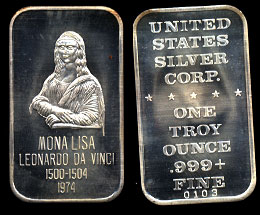 USSC-28  Mona Lisa  Silver Art Bar