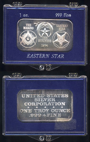 USSC-200 (1974) Order of The Eastern Star Silver Artbar