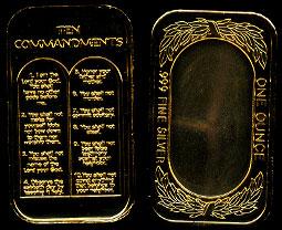 ST-331GP Ten Commandments Silver Artbar
