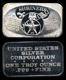 USSC-162C  SHRINERS Silver Art Bar