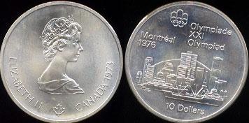 1973 Canada Elizabeth II Olympiade XXI Olympiad Montreal 1976 10 Dollars 1.5oz of .925 Sterling Silver