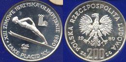 1980 XIII Zimowe Igrzyska Olimpitskie 200 ZL Poland Lake Placid N.Y. Polska Rzeczpospolita Ludowa silver Round