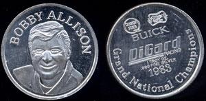 Bobby Allison silver 1oz round 1983