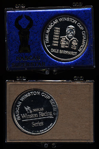 Dale Earnhardt 7 Times Nascar Winston Cup Champion In Blue Nascar Superstar Holder Silver Art Round