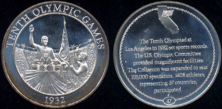 Tenth olympic Games 1932 The Tenth Olympiad at Los Angeles in 1982 set sports records. Silver Round