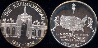 The XXIII Olympiad 1932 - 1984 L.A. Coliseum Silver Round