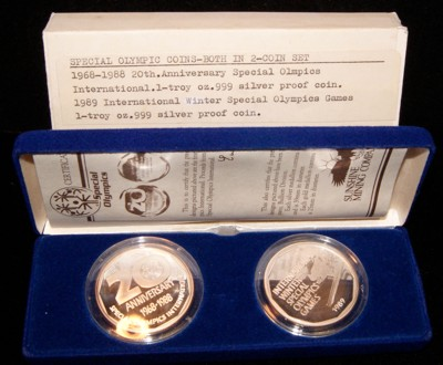 Special Olympics Two Coin Set w/ Box & COA