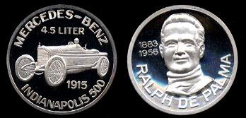 Ralph De Palma 1883-1956 Merceded-Benz 4.5 Liter 1915 Silver Art Round