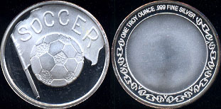 Soccer Flag & Ball One Troy Ounce Round