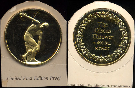 The Discus Thrower 450 B.C. Myron Limited First Proof Edition 24K Gold Electroplate over .925 Sterling Silver 2 Ounces