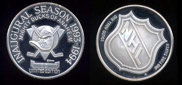 Anaheim Mighty Ducks Inaugural Season 1993-1994 Limited Edition #10 Silver Round