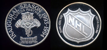 Florida Panthers Inaugural Season 1993-1994 Limited Edition #1144 Silver Round