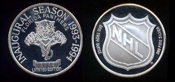 Florida Panthers Inaugural Season 1993-1994 Limited Edition #1144 Silver Round
