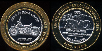 Reno/Tahoe International Airport 1934 Indian Chief Motorcycle Limited Edition Ten Dollar Gaming Token Casino Silver Strike
