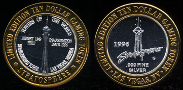 Stratosphere Casino 1996  Inaugural Commemorative Limited Edition Ten Dollar Gaming Token