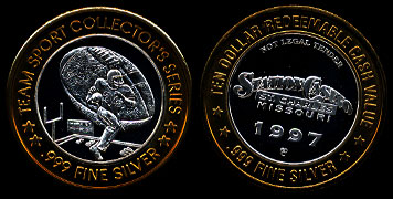 Station Casino St. Charles, MO Team Sport Collector's Series (Football) 1997 $10 Gaming Token
