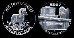 Slots of Fun Nevada Wildlife Series Big Horn Sheep 1/2 Oz. silver round