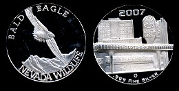 Slots of Fun Nevada Wildlife Series Bald Eagle 1/2 Oz. silver round