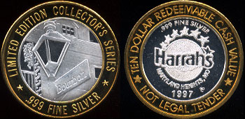 Harrah's Casino 1997 Maryland Heights, Mo Bourbon Street Limited Edition Collecor's Series Casino  Silver Strike