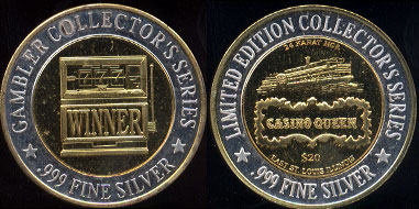 East St. Louis Illinois Casino Queen Gambler Collector's Series Limited Edition Collector's Series $20 777 Winner Casino Silver Strike