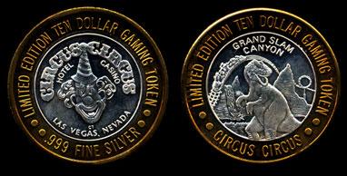Circus Circus Hotel Casino Clown / Grand Slam Canyon T-Rex Silver Casino Round