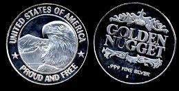 Golden Nugget Casino Bald eagle Half Oz. silver round