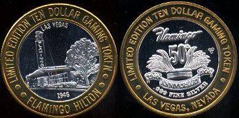 Flamingo Hilton 50th Anniversary Las Vegas, Nevada 1945 Limited Edition Ten Dollar Gaming Token Casino Silver Strike