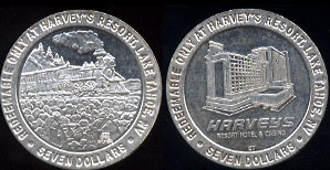 Lake Tahoe, Nevada Harvery's Resort Hotel & Casino Redeemable Only At Harvey's Resort Seven Dollars Silver Casino Medal