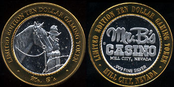 Mill City, Nevada Mr. B's Casino Limited Edition Ten Dollar Gaming Token Casino Silver Strike