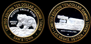 Mystic Falls Park Proof Grizzly Bear Sam's Town Limited Edition $10 Gaming Token