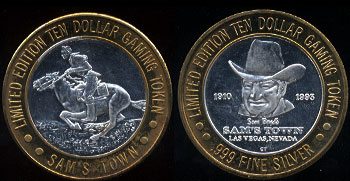 Las Vegas, Nevada Horse Rider Sam's Town  1910 1993 Limited Edition Ten Dollar Gaming Token Casino Silver Strike