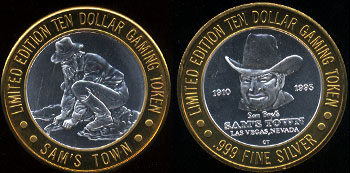 Las Vegas, Nevada Siphoning Cowboy Sam's Town 1910-1993 Limited Edition Ten Dollar Gaming Token Casino Silver Strike