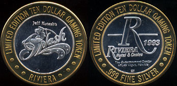 River Hotel & Casino 1993 The Entertainment Center of Las Vegas, Nevada Jeff Kutesh's Splash Limited Edition Ten Dollar Gaming Token Casino Silver Strike
