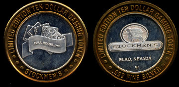 Stockmen's Elko, Nevado Full House Inc. $10 Gaming Token