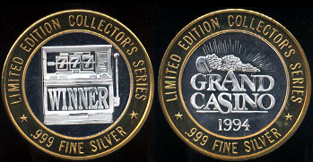 Grand Casino 1994 Limited Edition Collector's Series 777 Winner Casino Silver Strike