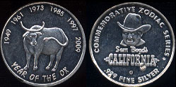 California Sam Boyd's Commemorative Zodiac Series Year of the Ox Silver Casino Round