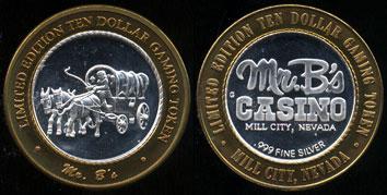 Mr.B's Casino Mill City,Nevada Limited Edition Ten Dollar Gaming Token