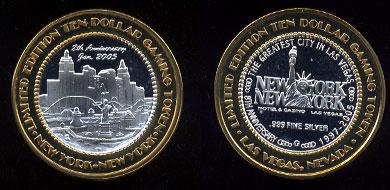 2005 New York NewYork 8th Anniversary $10 Gaming Token Las Vegas, Nevada