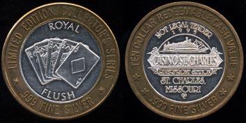 Casino St. Charles 1995 Royal Flush Limited Edition Ten Dollar Gaming Token