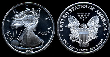 2000 Walking Liberty Five Troy Ounce Silver Art Round