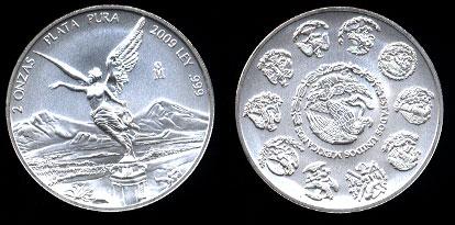2009 2 Onza  Estados Unidos Mexicanos Silver Art Round