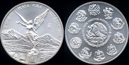 2013 Estados Unidos Mexicanos 5 Onzas Plata Pura  5 Troy Ounces of .999 Fine Silver Round