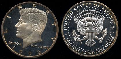 Copy 1996 Kennedy Half Dollar One Troy Pound 6 Ounces Silver Round