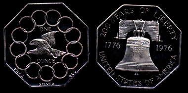 1976 200 Years of Liberty Flying Eagle Bicentennial Octagonal Silver Art Medal