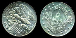 Illinois Statehood Sesquicennial Commemorative Medal Silver Art Round